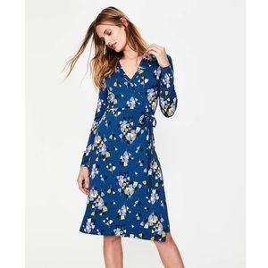 Boden | NEW Jersey Wrap Dress Blue Tulips | 8L